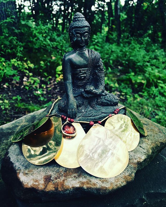 Buddha in my forest dressed in gold .. thinking of his lessons ..it is running past our fears that allows us to walk on ..#lifelessons #objectsofpower#reflection#bliss