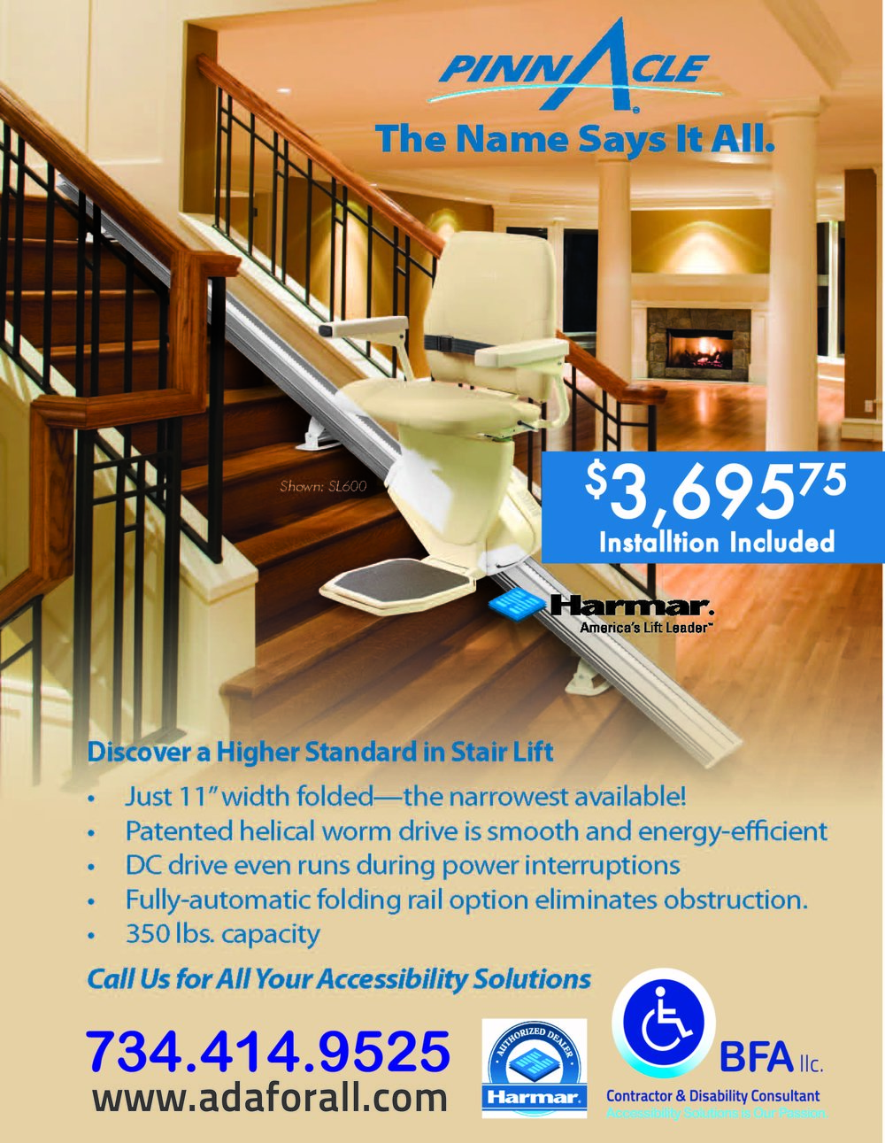 HARMAR Pinnacle Stair Lift  is a great value. Call us today at 734-414-9525.
