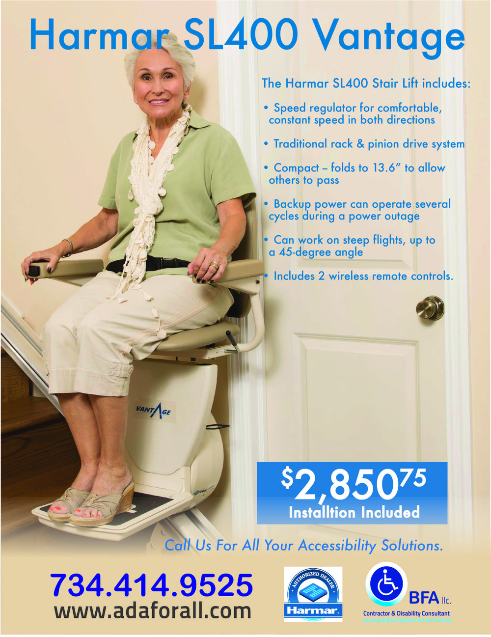 HARMAR Vantage Stair Lift is the deal of the year! Call us today at 734-414-9525.