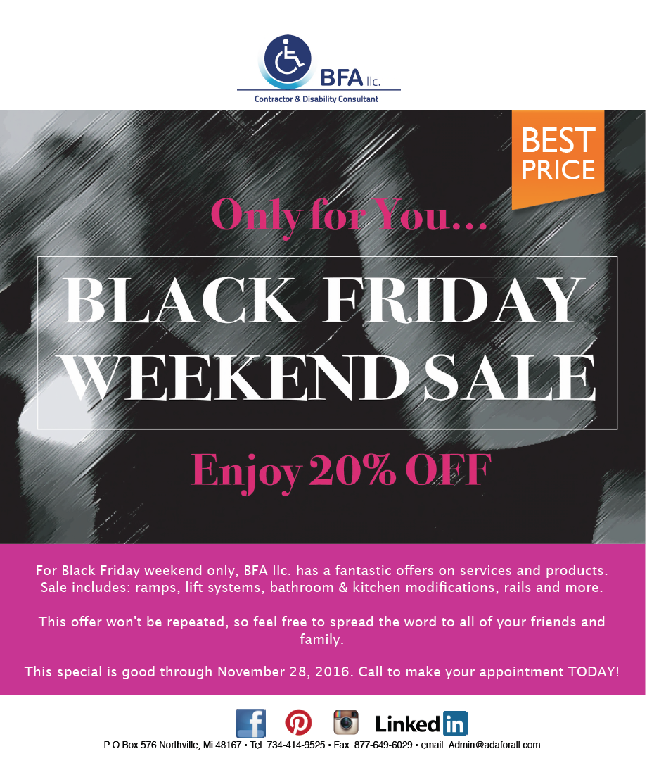 BFA llc. Black Friday weekend Sale 2016