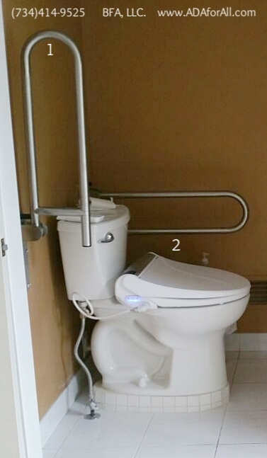 1. Flip Grab bar, 2. Bidet toilet seat