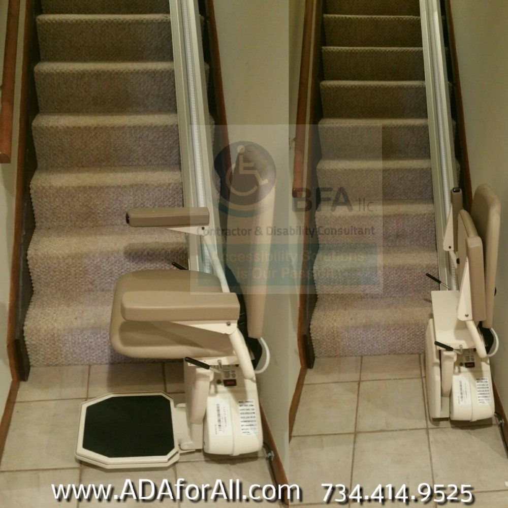 HARMAR Pinnacle Stair lift installed by BFA,LLC. Click image to learn more about this lift.