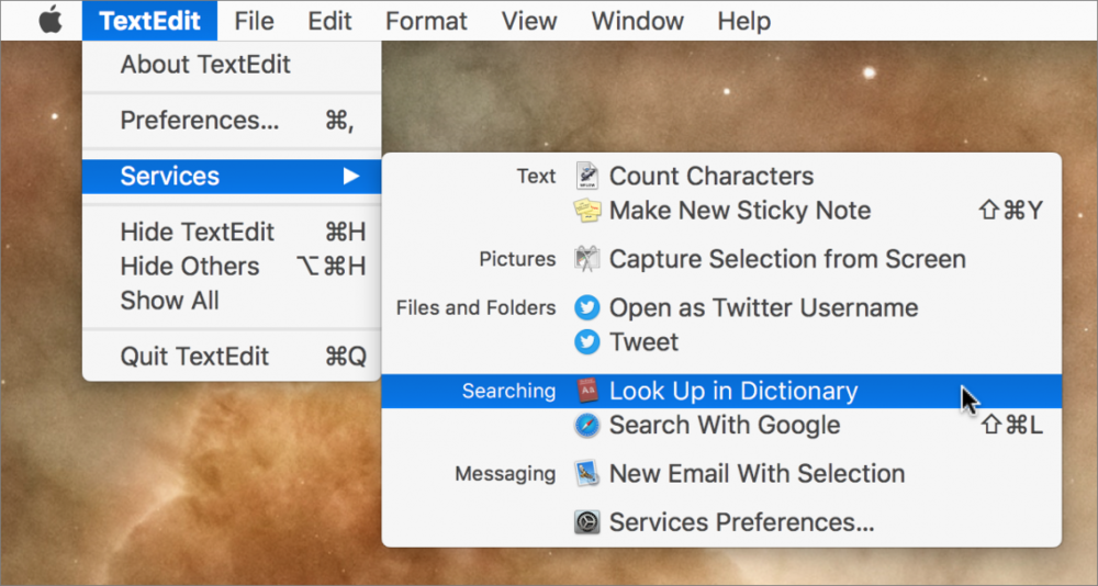"Last but best, hover over a word or phrase with the mouse pointer and either press Command-Control-D or Control-click the word and choose Look Up ""word."" If the app supports it, macOS displays a popover with the definition or Wikipedia article. If you have a trackpad, you can also do a force-click or three-finger tap on the selected word—make sure the ""Look up & data detectors"" checkbox is selected in System Preferences > Trackpad > Point & Click."
