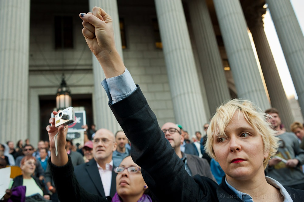 #occupywallstreet Protesters across from Foley Square on the steps of the New York Supreme Court. 10/5/11
