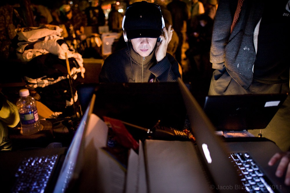 #occupywallstreet Thorin Caristo, a Media Coordinator for #OWS in the Media Center. 10/7/11