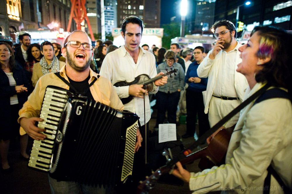Justin Wedes and others playing Jewish music following Yom Kippur services. Across from Liberty Plaza, 10/7/11
