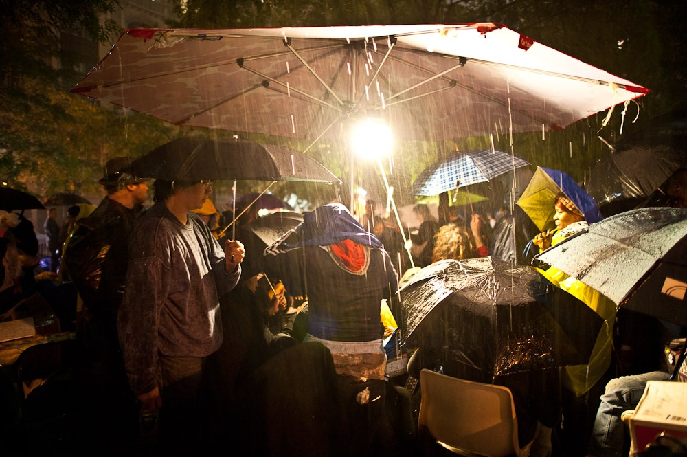 #occupywallstreet: Heavy rain fell on the eve of the proposed eviction/clean up of Zuccotti Park. 10/14/11