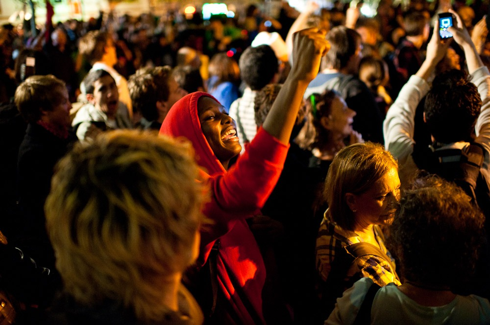 #occupywallstreet:  Crowd reacts to the news that they won't be evicted from Zuccotti Park. 10/14/11