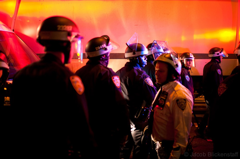 #occupywallstreet - A massive police presence was in lower Manhattan on the night of the eviction blocking all access to Zuccotti Park.