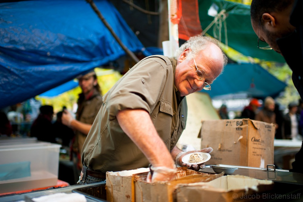 Ben Cohen, co-founder of Ben & Jerry's (@cherrygarcia) served ice cream at @occupywallst Zuccotti Park, NYC - Nov. 7th, 2011