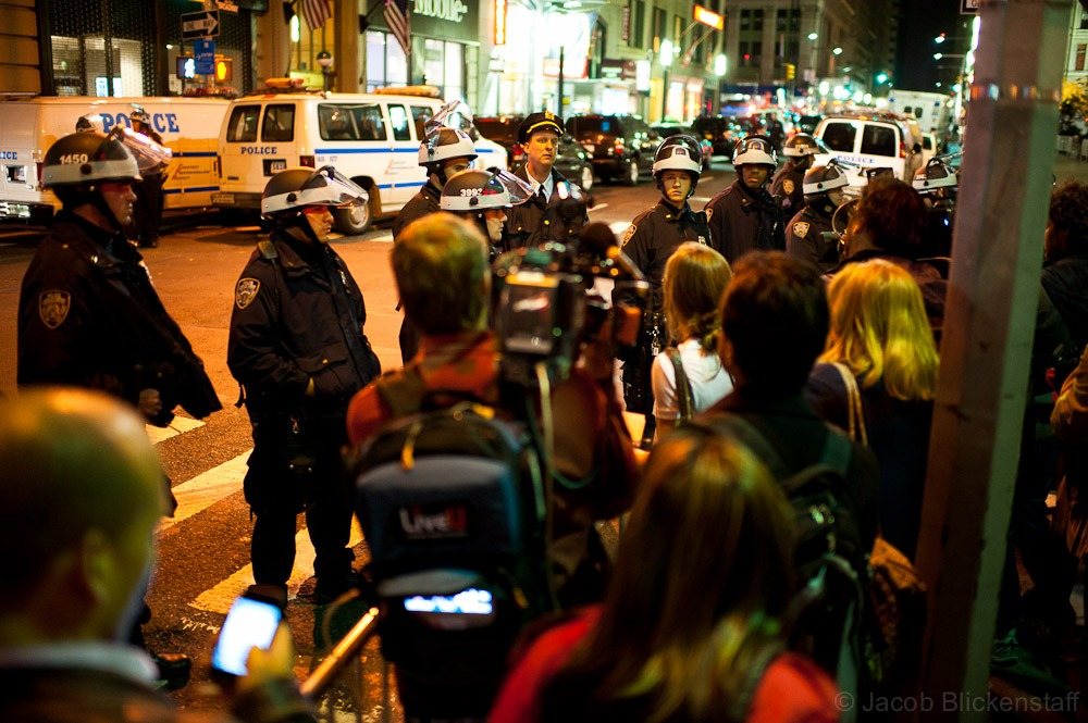 #occupywallstreet #NYPD repeatedly restricted access to the eviction activities at Zuccotti Park.