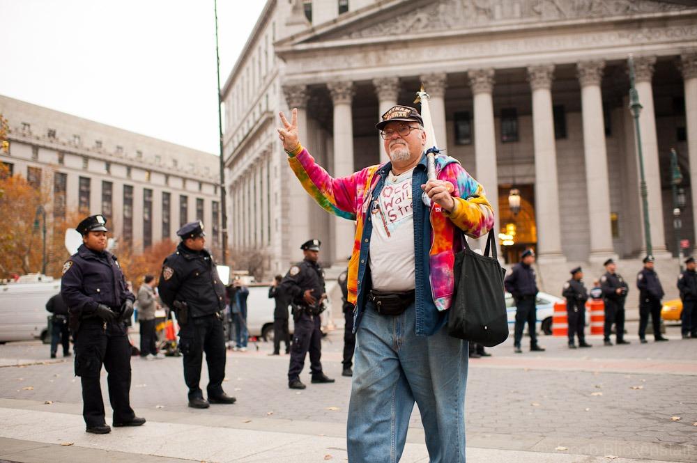 #occupywallstreet Zuccotti Park regular Bill Steyert in Foley Square