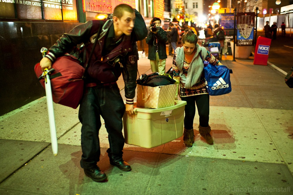 #occupywallstreet Protestors left the area with their belongings after being forcibly evicted by NYPD