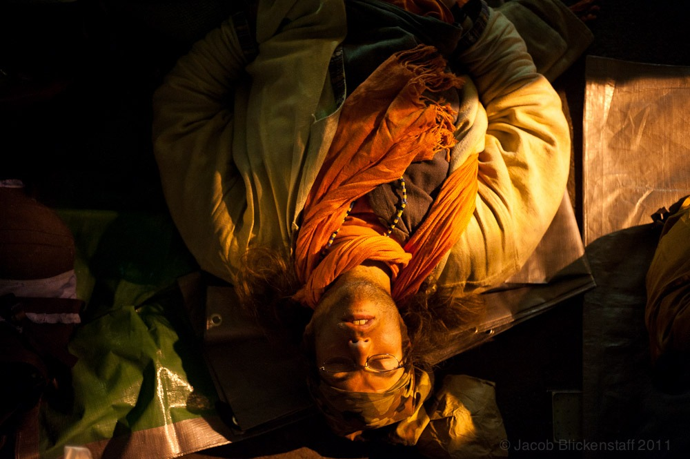 #occupywallstreet Sleeping protestor in Zuccotti Park, 10/7/2011