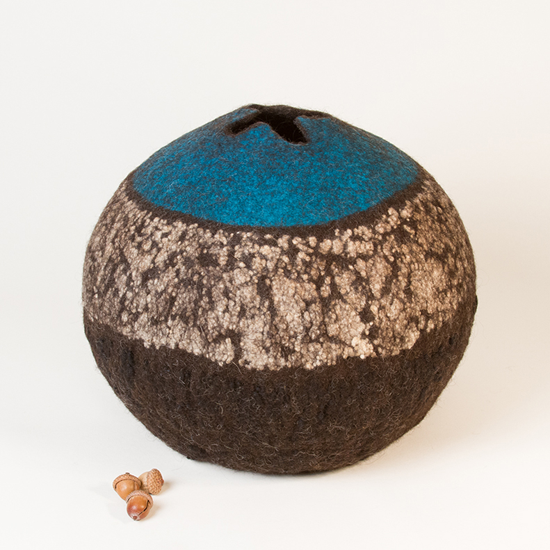 'Earth, Air, Sky' - Wet Felted Vessel by Karen Waters
