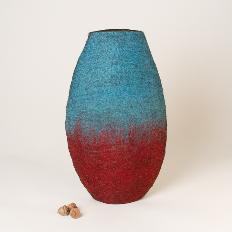 'Turquoise and Red' - Wet Felted Vessel by Karen Waters