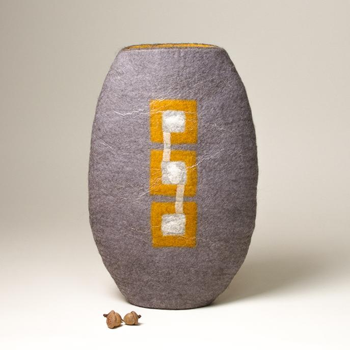 Wet Felted Wool Sculptural Vessel by Karen Waters