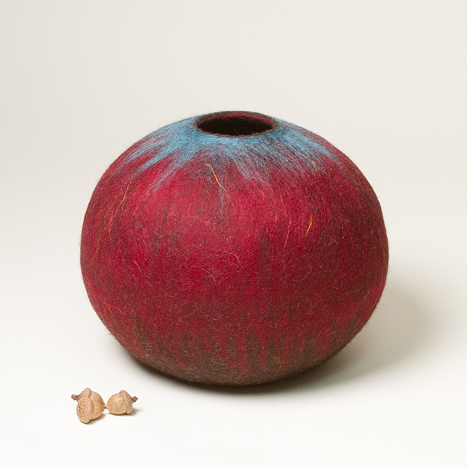 Wet Felted Wool Sculptural Vessel by Karen Waters