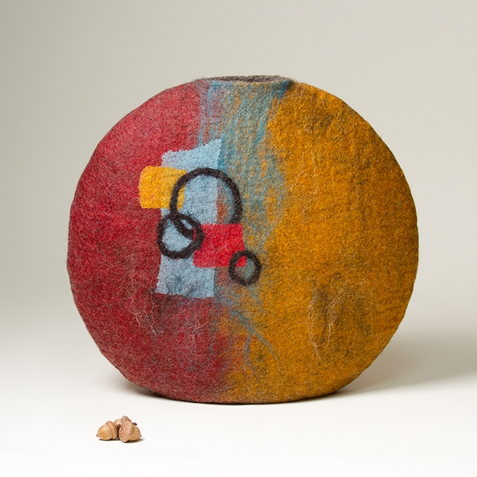Wet Felted Abstract Sculptural Vessel by Karen Waters