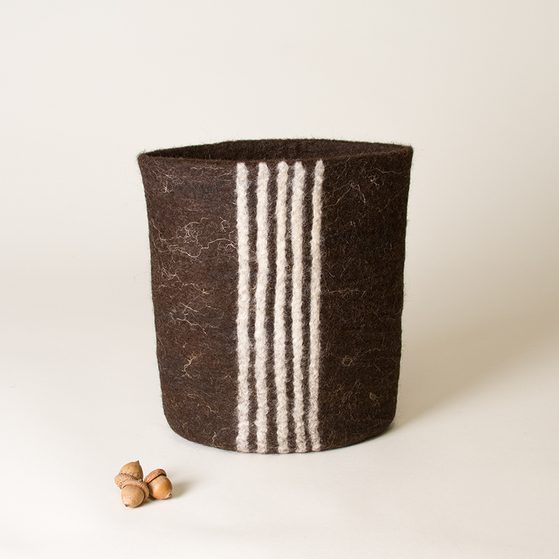 'Line 'em Up' - Wet Felted Sculptural Vessel by Karen Waters