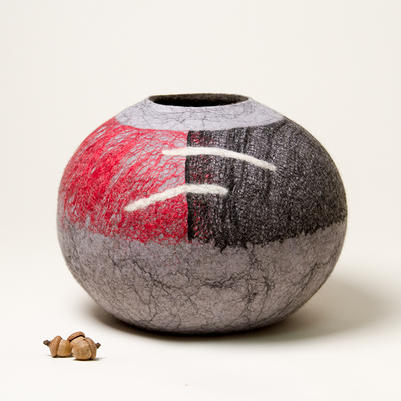 Wet Felted Sculptural Vessel by Karen Waters