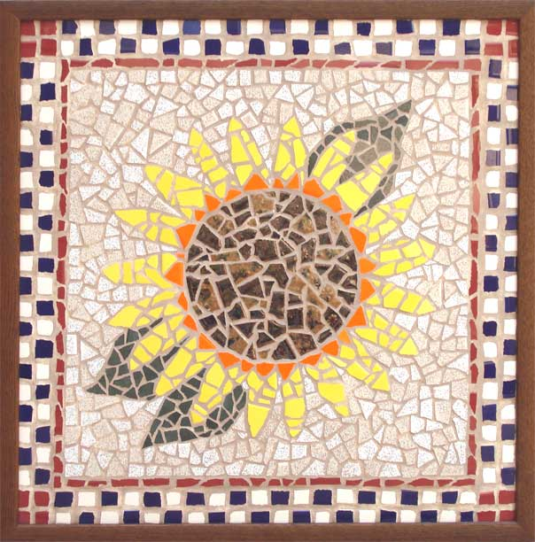 Sunflower. 2' x 2'. First mosaic attempt. 1995 - 1996. Ceramic and porcelain pool and floor tiles.