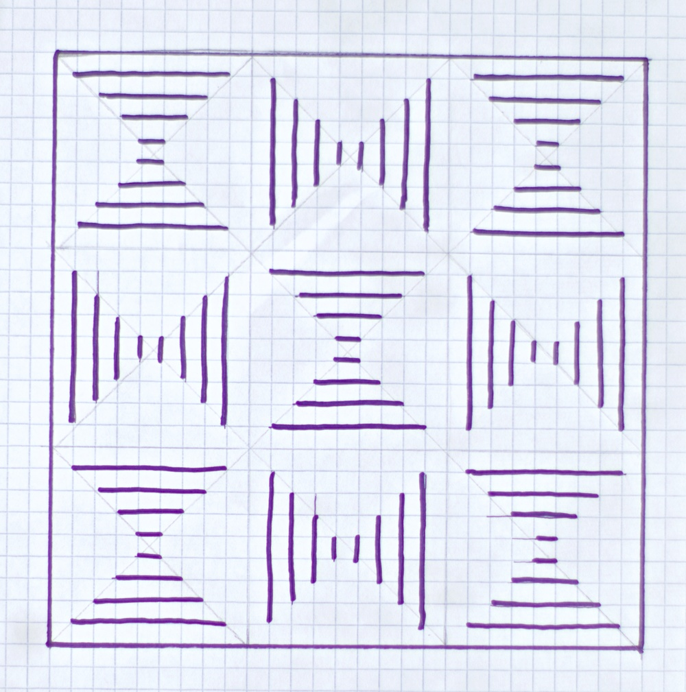 "Rough drawing of the 30"" x 30"" very simple, repeating pattern. It is basically 9 squares, each 9"" x 9"", with an approx. 1.5"" border around the edge."