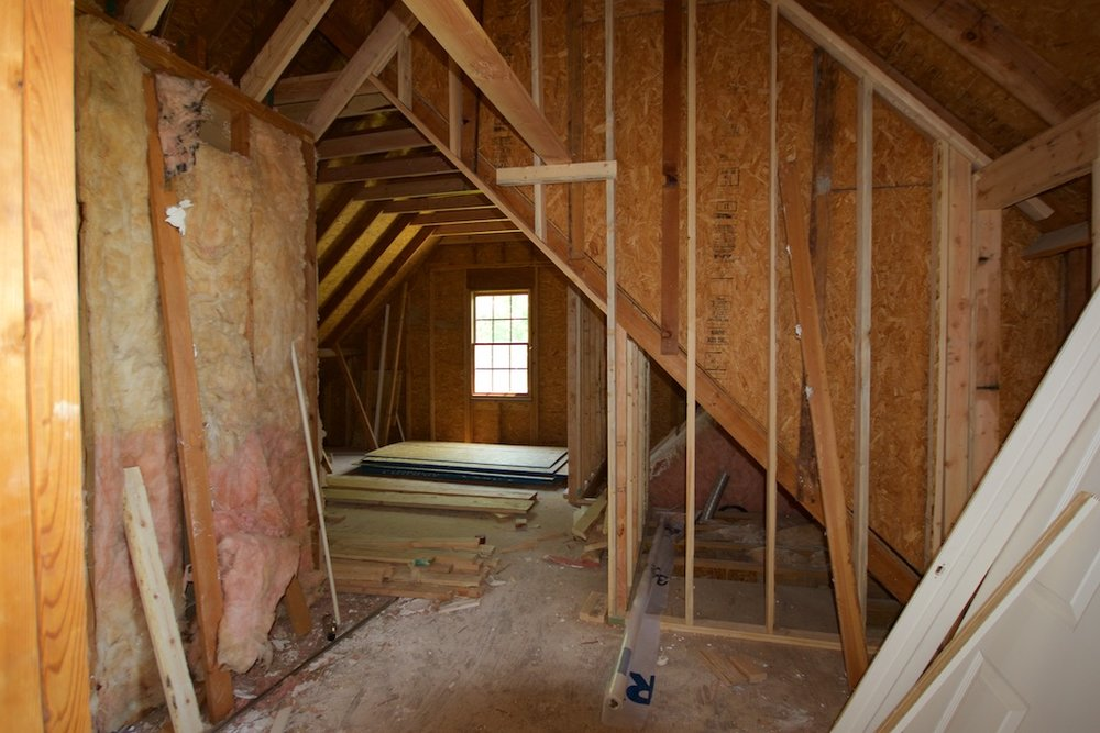 Before: Looking into attic area toward single east window. That dormer window is directly to the right.