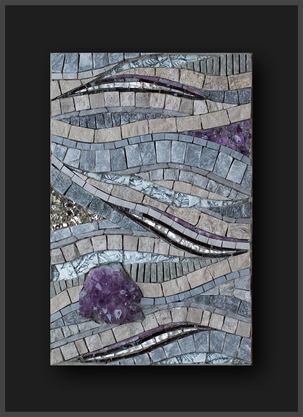 "On the Horizon (2017) 8.5"" x 5.5""  22cm x 14cm. (Framed:11"" x 8""   28cm x 20) Marble, porcelain, vitreous, Van Gogh glass, mosaic gold, contorno, amethyst. pyrite"