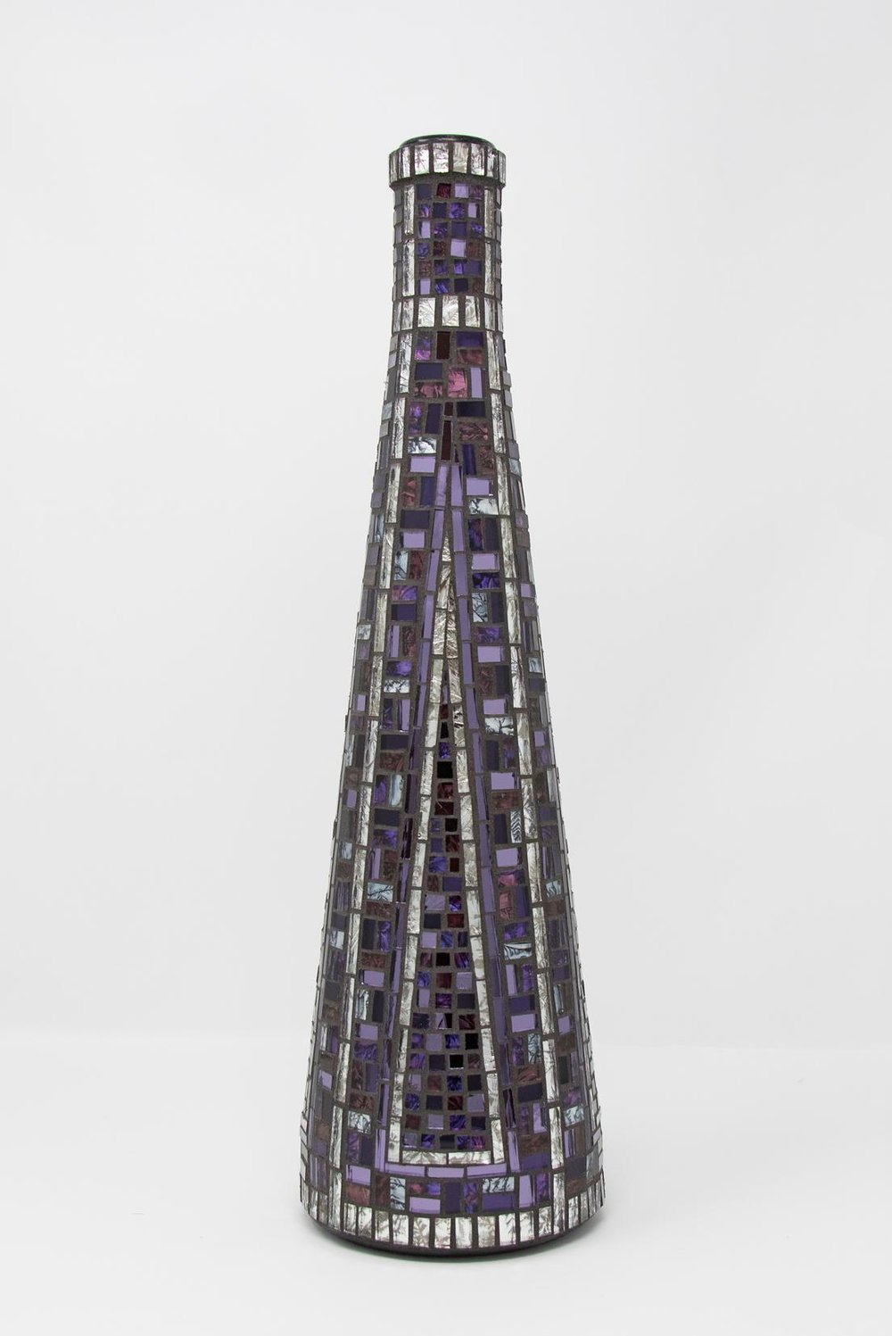 "(2017)  Purple and Silver Bottle  14"" x 4.25"" 