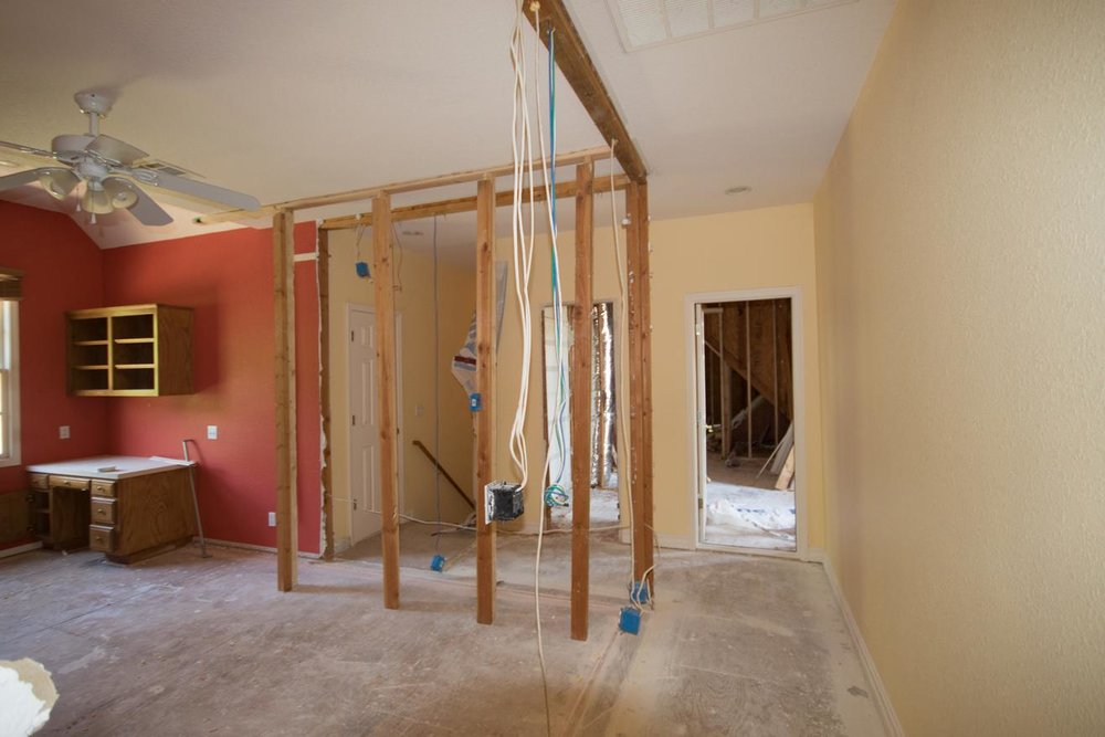 Construction has begun: Most of the bedroom on the left has been removed, opening up the end of the hall.