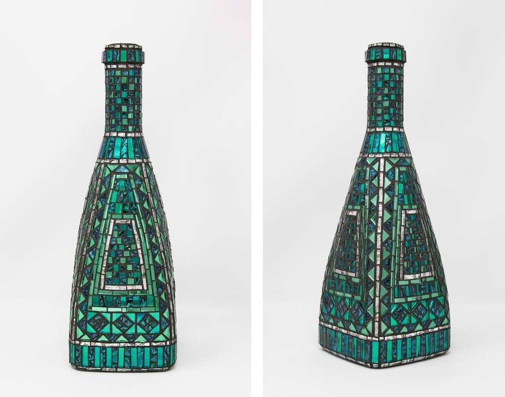 "Bluegreen and Silver Bottle 12"" x 4"" x 4"" 