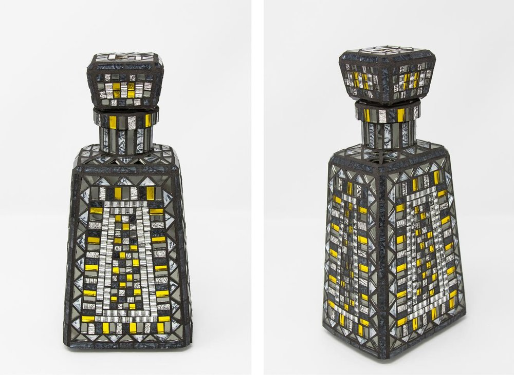 "Gray and Yellow Bottle   (2017) 9.5"" x 4.5"" x 3.5"" 