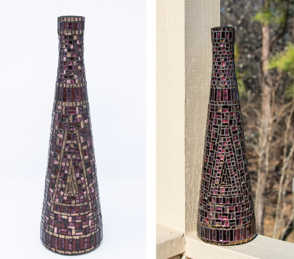 "Bronze, Red, and Purple Bottle. 14"" x 4.25"" 