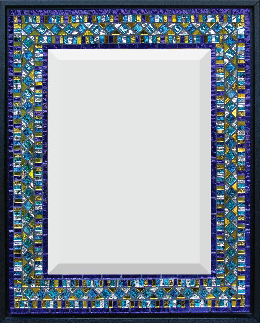 "Blue, Yellow, Turquoise 14"" x 17.5"" Mirror and Van Gogh glass."