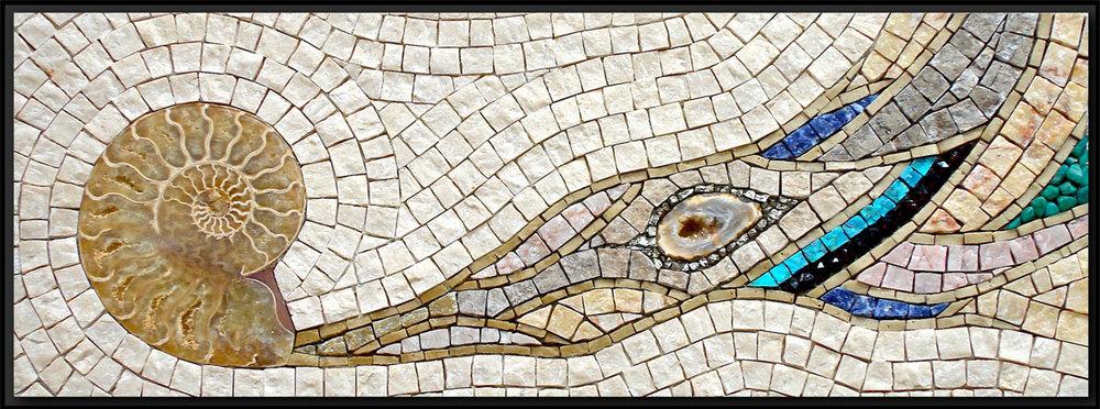 "Old Testament   (2007) 7"" x 16"" | 18cm x 41cm.Marble, smalti, pyrite, geode, ammonite fossil, sodalite, turquoise, garnet, ammonite"