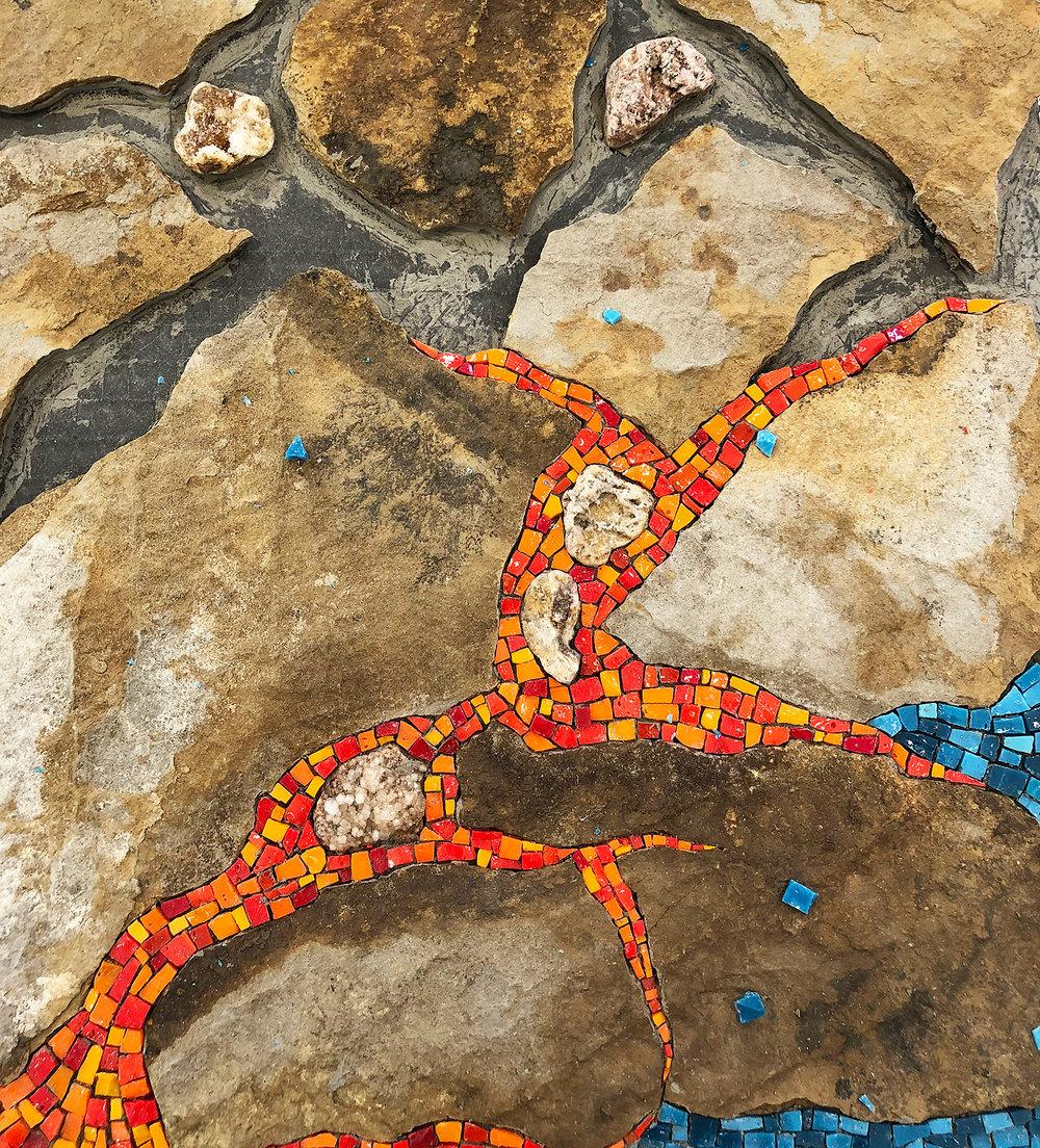"Homage to Kilauea  , partial 12"" x 12"" | 30cm x 30cm. Shale, Asturian stones, smalti"