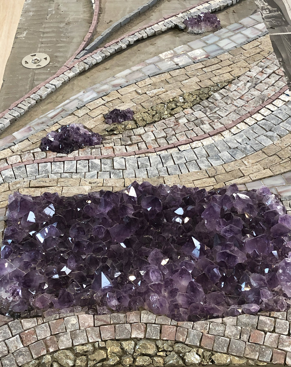 "I Heard the Mountain Sing , in progress. 30"" x 12"" | 76cm x 30cm. Marble, amethyst specimens, pyrite, glass, porcelain."