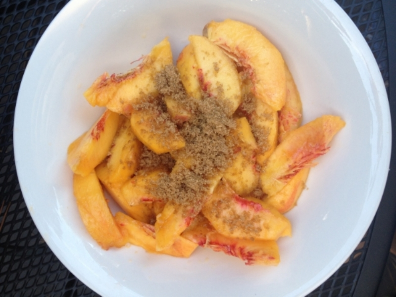 Brown sugared peaches