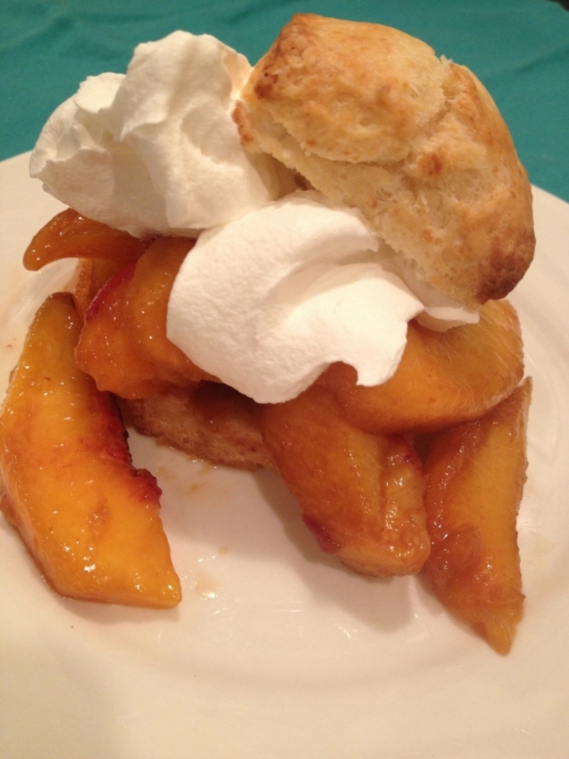 Grilled biscuit shortcake with peaches