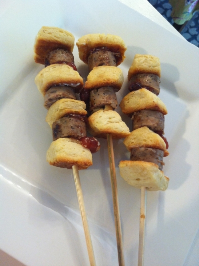 Superbowl Sausage Biscuit Skewers