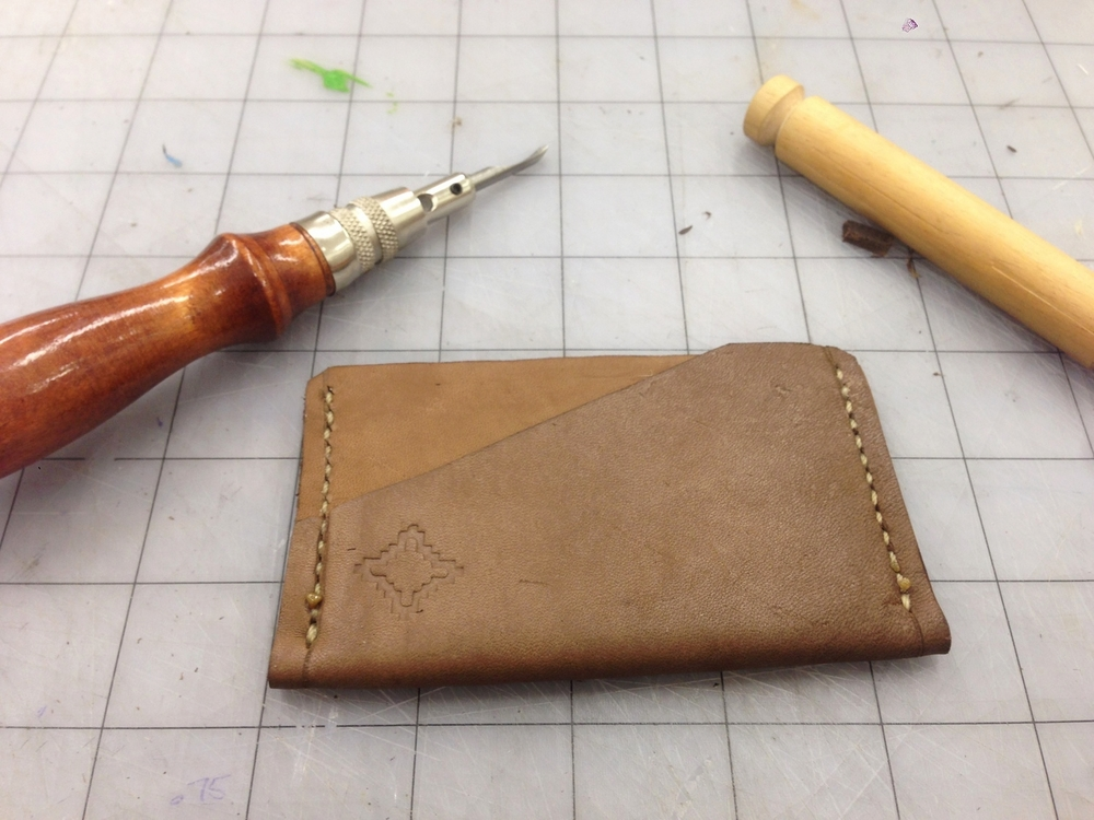 Card wallet sample with leather stamped logo