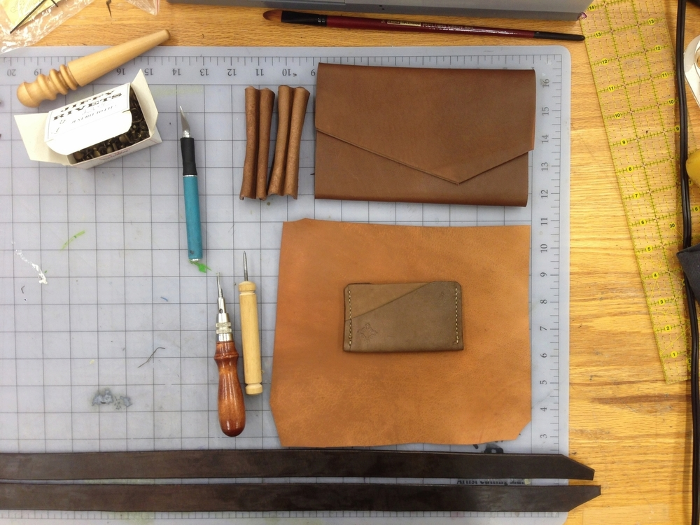 Some of the tools and work space where I construct the leather wallets
