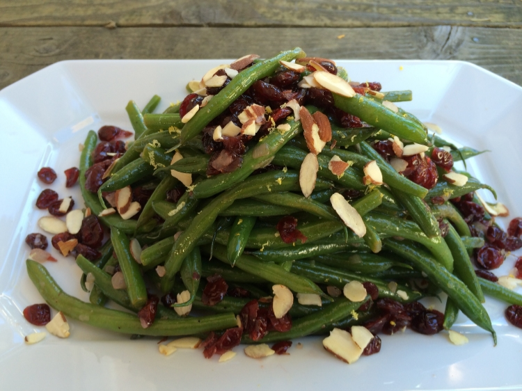 Green Beans with Shallots, Dried Cranberries and Toasted Almonds.