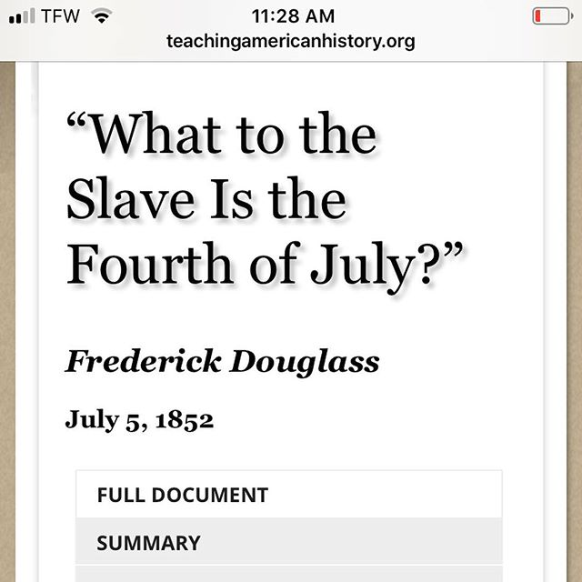 Celebrating and Understanding Black History doesn't end in February. Reading this speech today from Frederick Douglas. It is surprisingly relevant today.