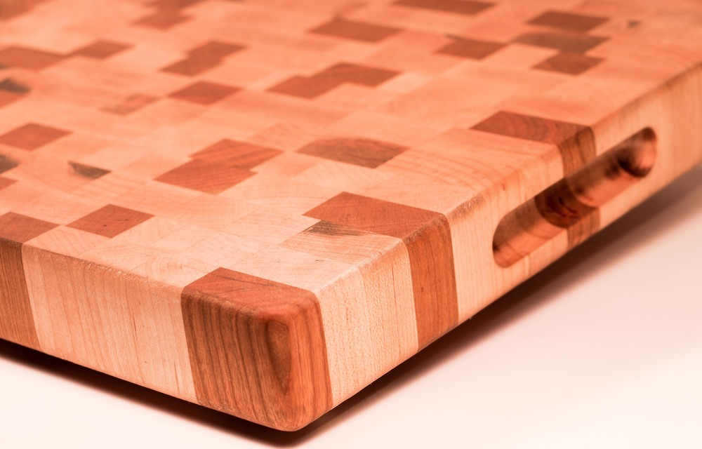 12 by 16 maple and cherry end grain cutting board