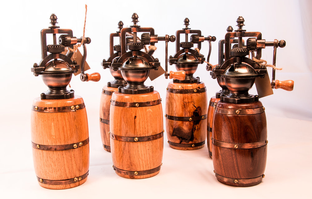 Collection of Antique Barrel Pepper Grinders