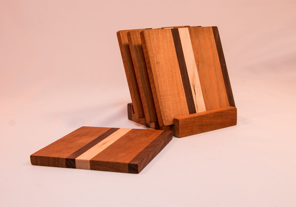 Wooden table coasters