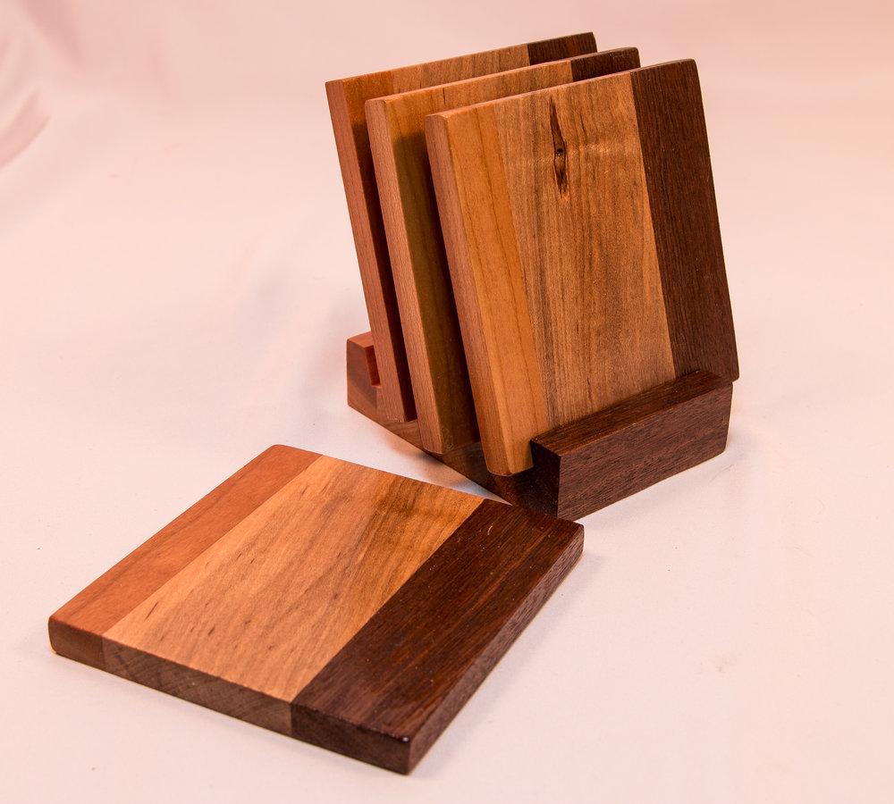 wood kitchen table coasters