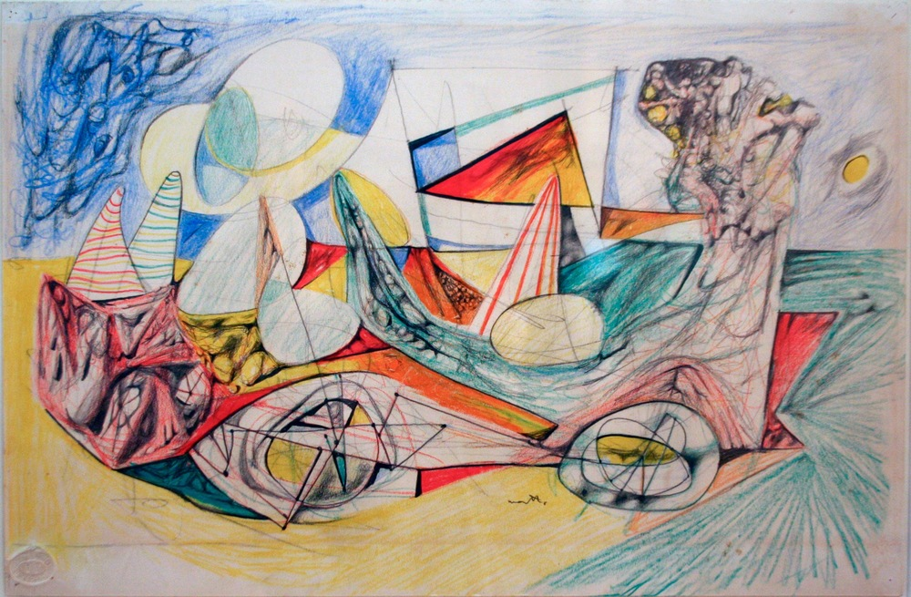 Roberto Matta Personnages and Automobile Colored pencil, pastel, chalk on paper, 1938